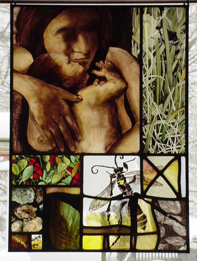 this stained glass panel emphasizes glass painting drawing imagery from grass, insects, berries, rocks leaves and an altered painting of mother and child by Caravaggio