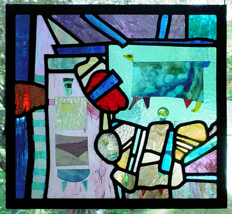 stained glass image of holy family visited by angel in abstract religious style