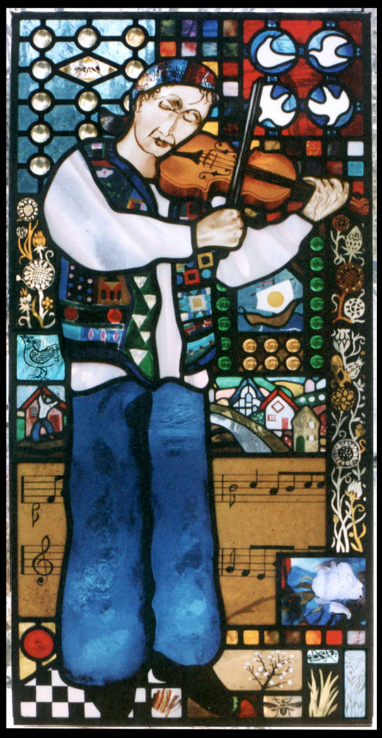 stained glass window, GYPSY FIDDLER, with a gypsy violinist set in a psychedelic collage style images of dreams and memories has the rapture of music as the theme