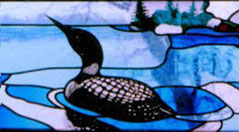 detail of Stained glass Loon