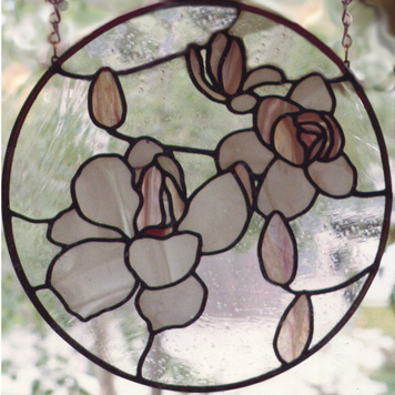 stained glass of magnolia blossoms