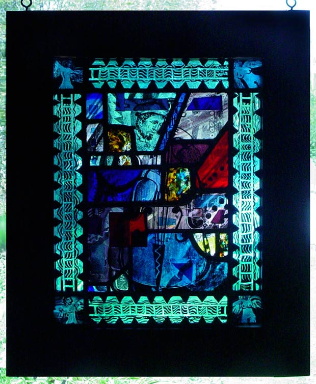 abstract stained glass window showing Charles Mingus playing Bass in blue tone intersected with patches of warm colors