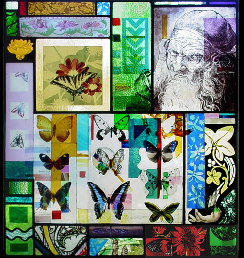 Stained glass for door with a psychedelic collage of butterflies,lightning bugs,flowers and Durer's drawing of an old man