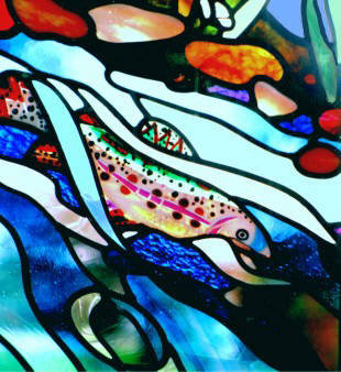 psychedelic stained glass rainbow trout